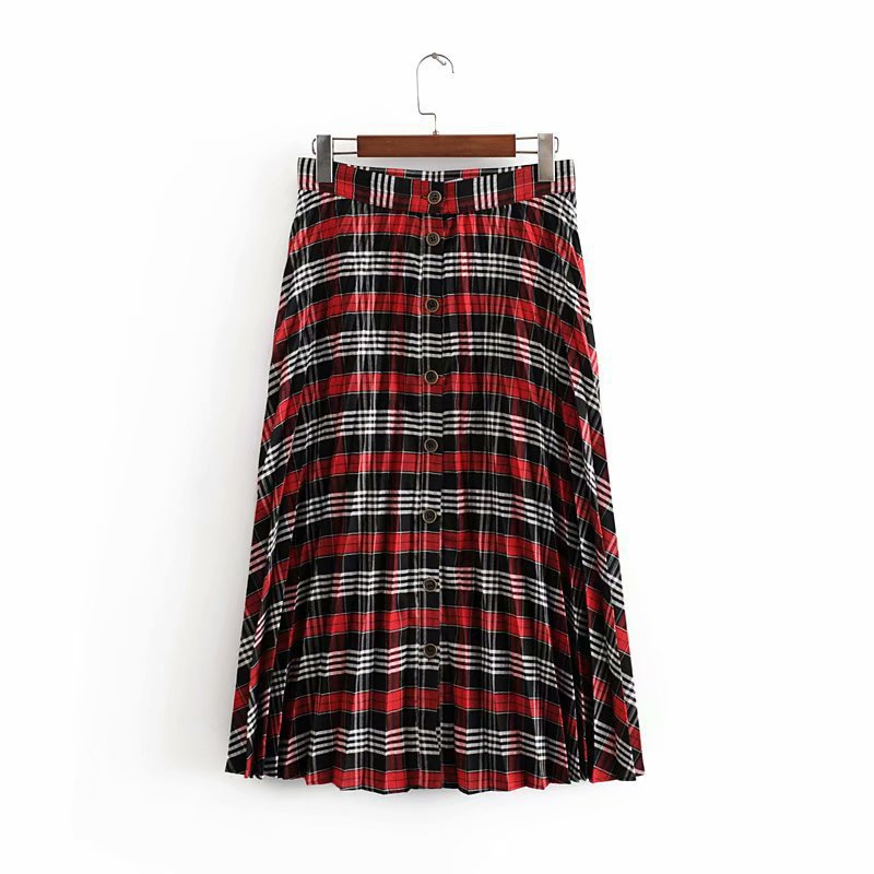 Western Style WOMEN'S Dress 2019 Summer New Style High-waisted Single Breasted Retro Plaid Pleated Skirt