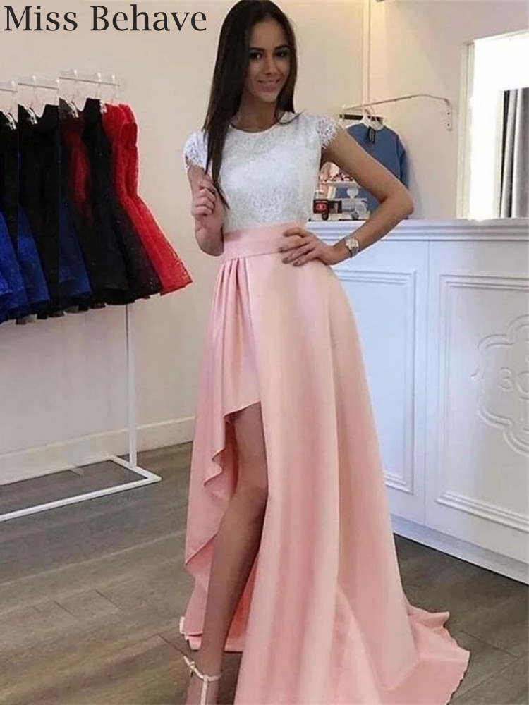 DD JYOY Elegant Evening Dress A Line Long Pink Satin Formal Dress for Women White Lace Body with Small Train Zipper Back