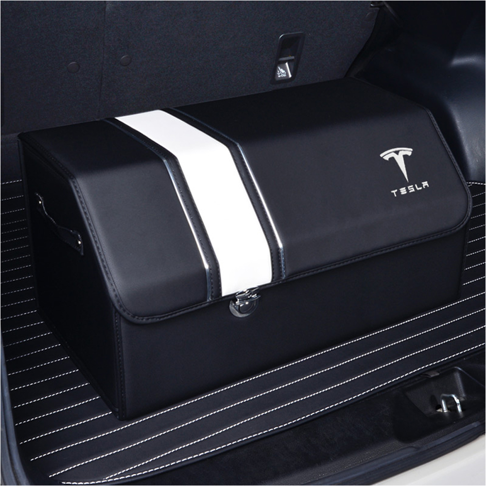 Tesla Car Trunk Organizer Box Storage Bag Auto Tool Box PU Leather Folding Large Storage Stowing Tidying For Tesla Medol 3 S Y S