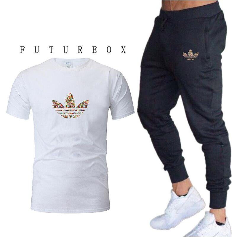 Tracksuit Men Sets Fashion Casual Letter Printed Short Sleeve T Shirts + Pant Summer Sport Mens Track Suit Set
