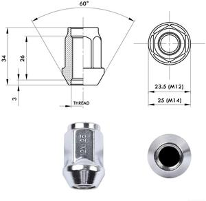 Image 3 - M12x1.25 Lug Nuts for 1993 2015 Nissan Altima/1981 2014 Nissan Maxima/Subaru Aftermarket Wheel 20pcs Chrome Closed End Lug Nuts
