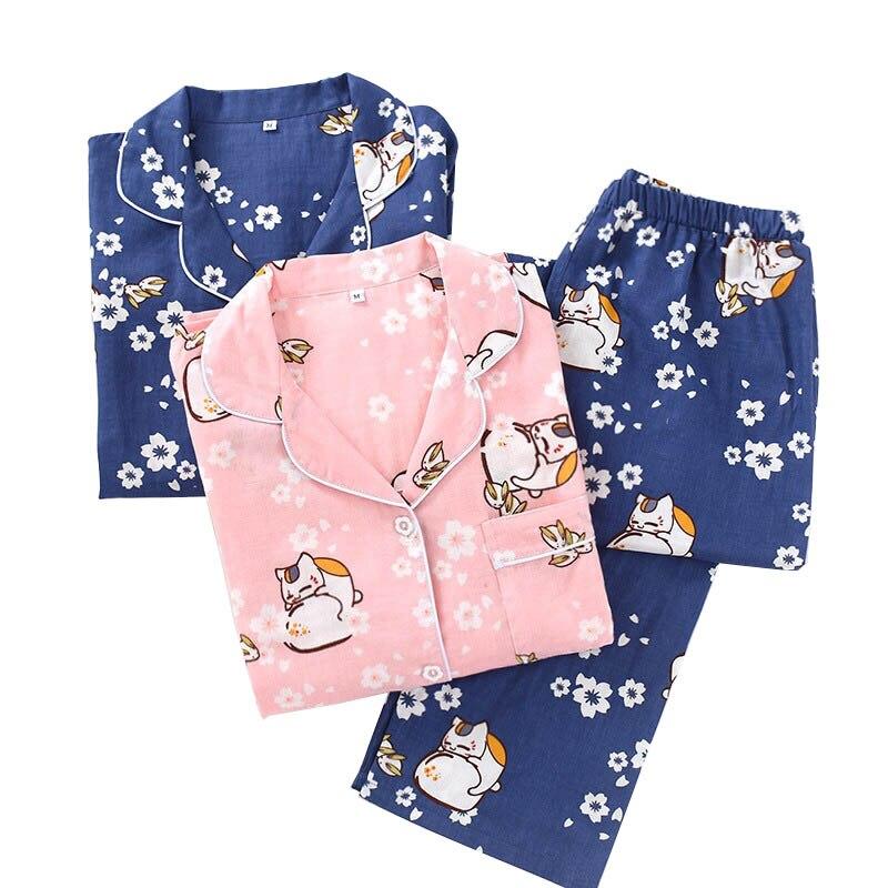 2020 Spring New Cute Cat Printed Ladies Pajamas Set Comfort Gauze Cotton Sleepwear Set Women Turn-down Collar Loose Homewear