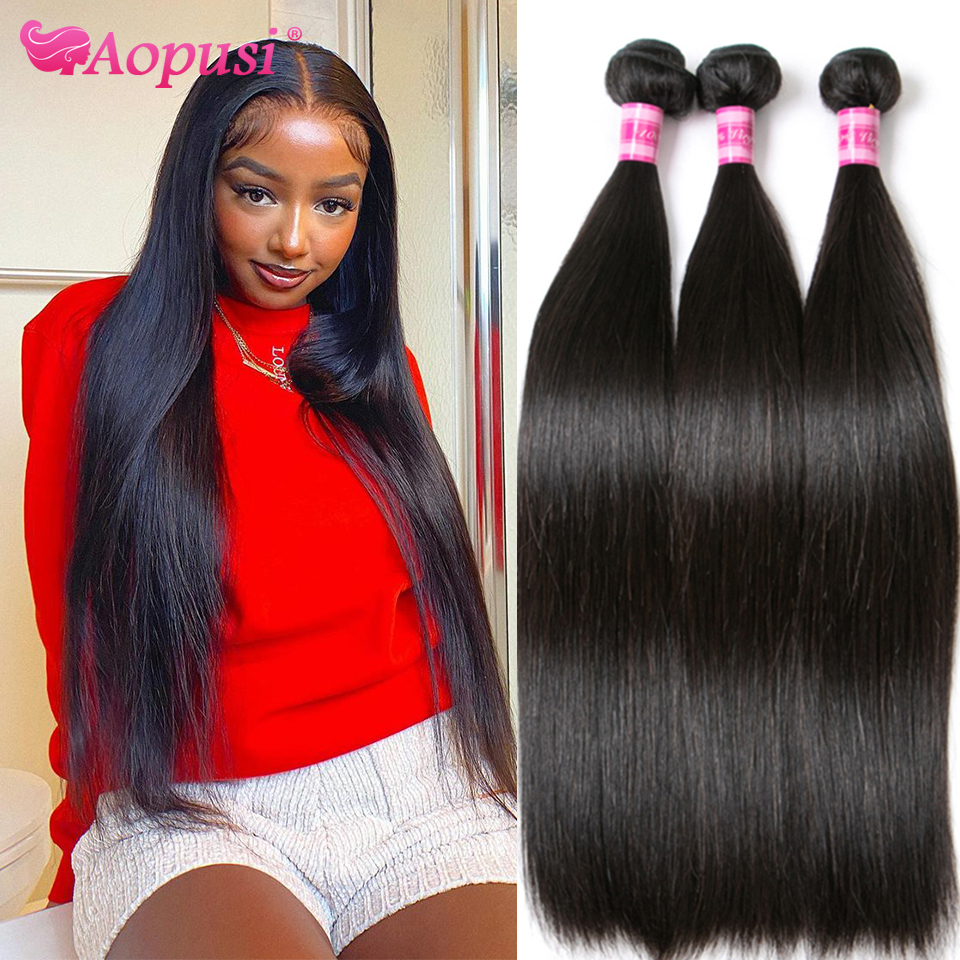 Aopusi прямые человеческие волосы пряди человеческих волос для наращивания, волнистые пряди Remy Пряди человеческих волос для наращивания воло...