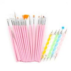 Nail Brush20 Stuks/Set Nail Gereedschap Puntjes Schilderij Tekening Pen Nail Art Brush Gel Polish Borstels Tool Sainting Pen nail Art Tool