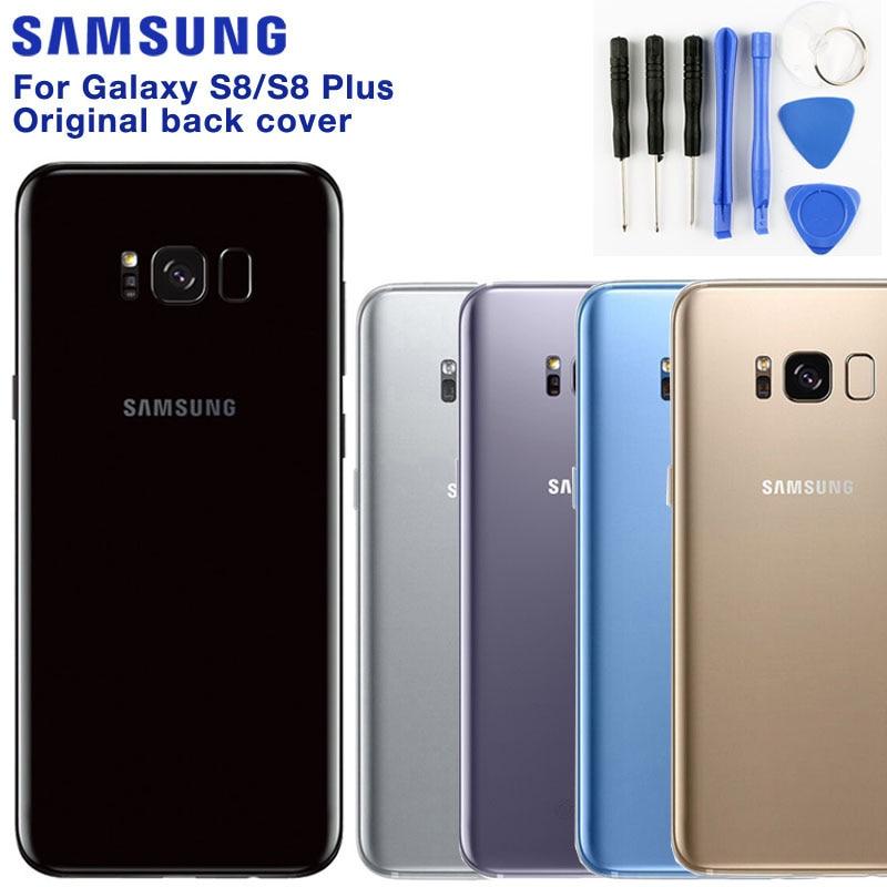 Оригинальная задняя крышка батарейного отсека Samsung Galaxy S8 SM-G950F S8 Plus S8 + стеклянная рамка для объектива камеры