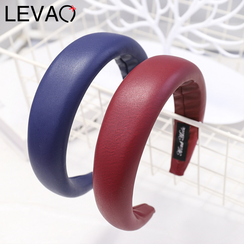Levao PU Leather Headband For Women Solid Thick Padded Headbands For Women Hair Accessories Makeup Clean Face Hair Band Hoops