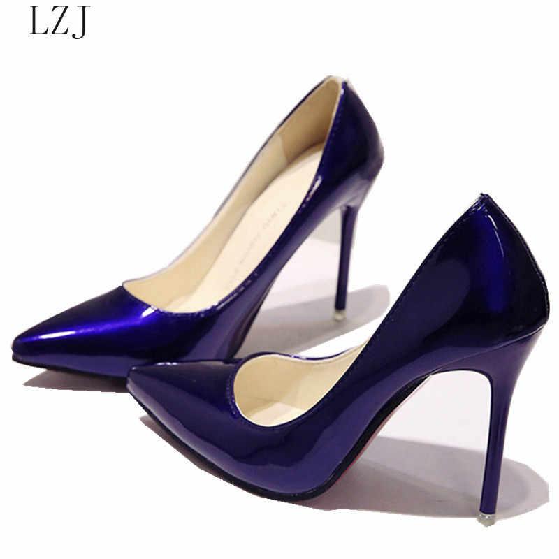 แฟชั่นรองเท้าส้นสูงผู้หญิงปั๊มส้นคลาสสิกสีขาวสีแดง Nede Beige SEXY PROM รองเท้าแต่งงานสีฟ้าสีแดงไวน์ Zapatos de Mujer