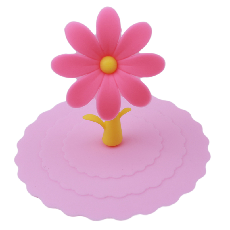 5 Colors Creative Anti-dust Silicone Cup Cover Silicone Lovely Sun Flower Cup Cover Coffee Cup Suction Seal Lid Cap
