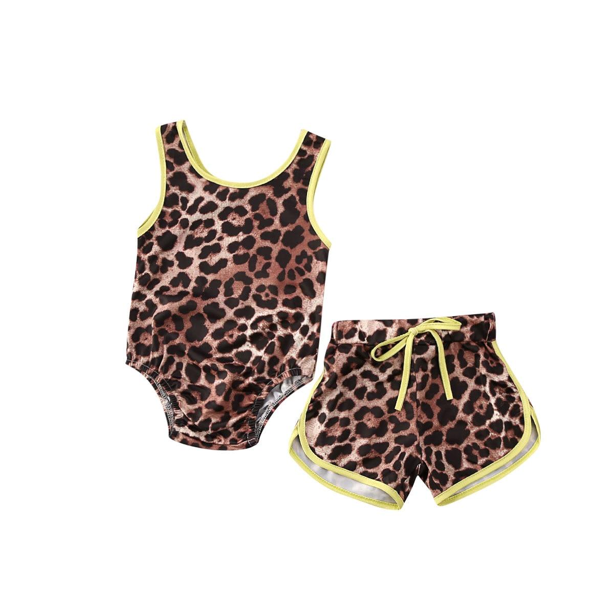 Summer Toddler Kids Baby Girls Leopard Swimwear Sleeveless Romper Top Shorts Swimsuit Fluorescent Green Bikini Set Bathing Suit