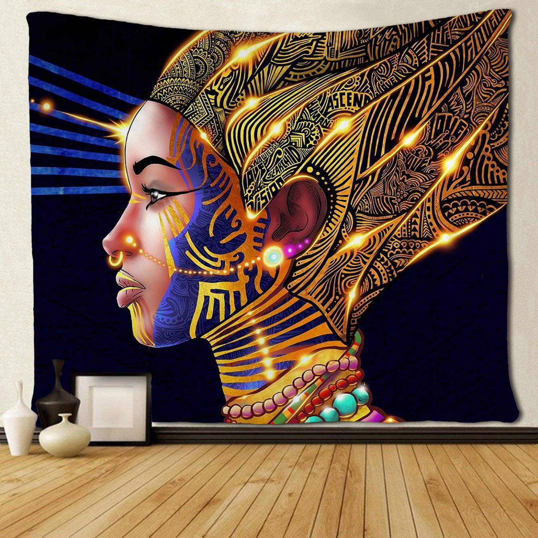 African American Women Gold Glitter Princess Tapestries Hippie Art For Bedroom Living Room Dorm Room