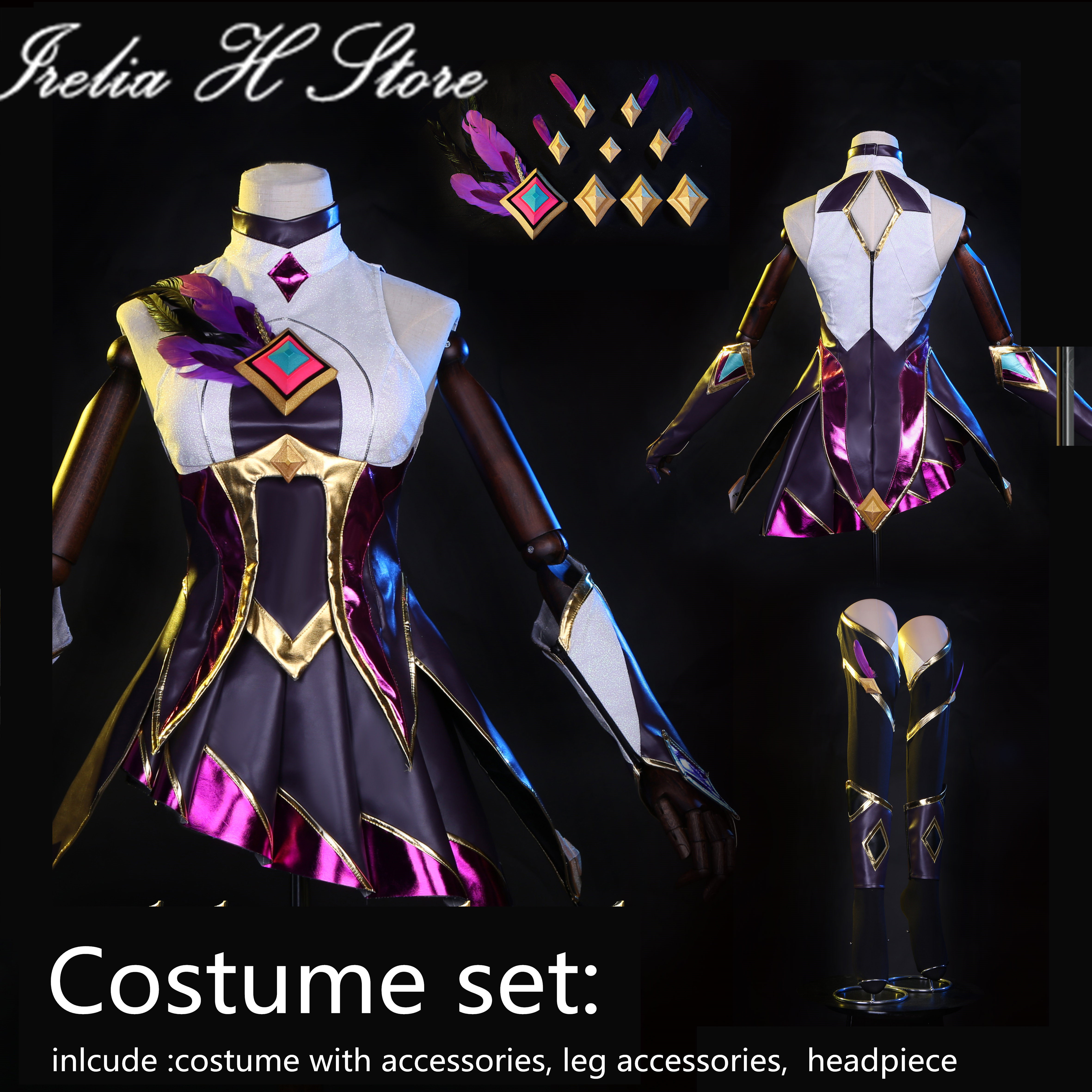 Custom made Xayah LOL Game Cosplay Star Guardian Xayah Cosplay costume dress female customized dress cloak feather weapons props 2