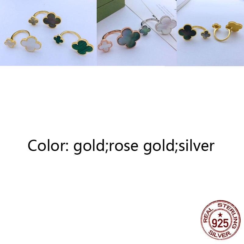 S925 anneau personnalité mode classique trèfle à quatre feuilles forme de trèfle tempérament couple dames bijoux nouveau chaud