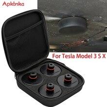 4X سيارة المطاط وسادة رافعة نقطة رفع محول أداة صندوق تخزين إطار دعم عدم الانزلاق حامي ل تسلا نموذج X/S/3 أسود