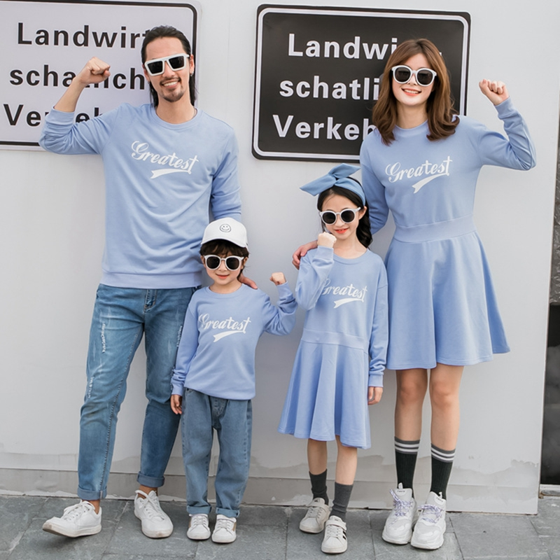 Family Matching Sweatshirt New Autumn Winter Mom And Me Matching Dress Dad Son Causal Sweatshirts Couples Matching Clothes