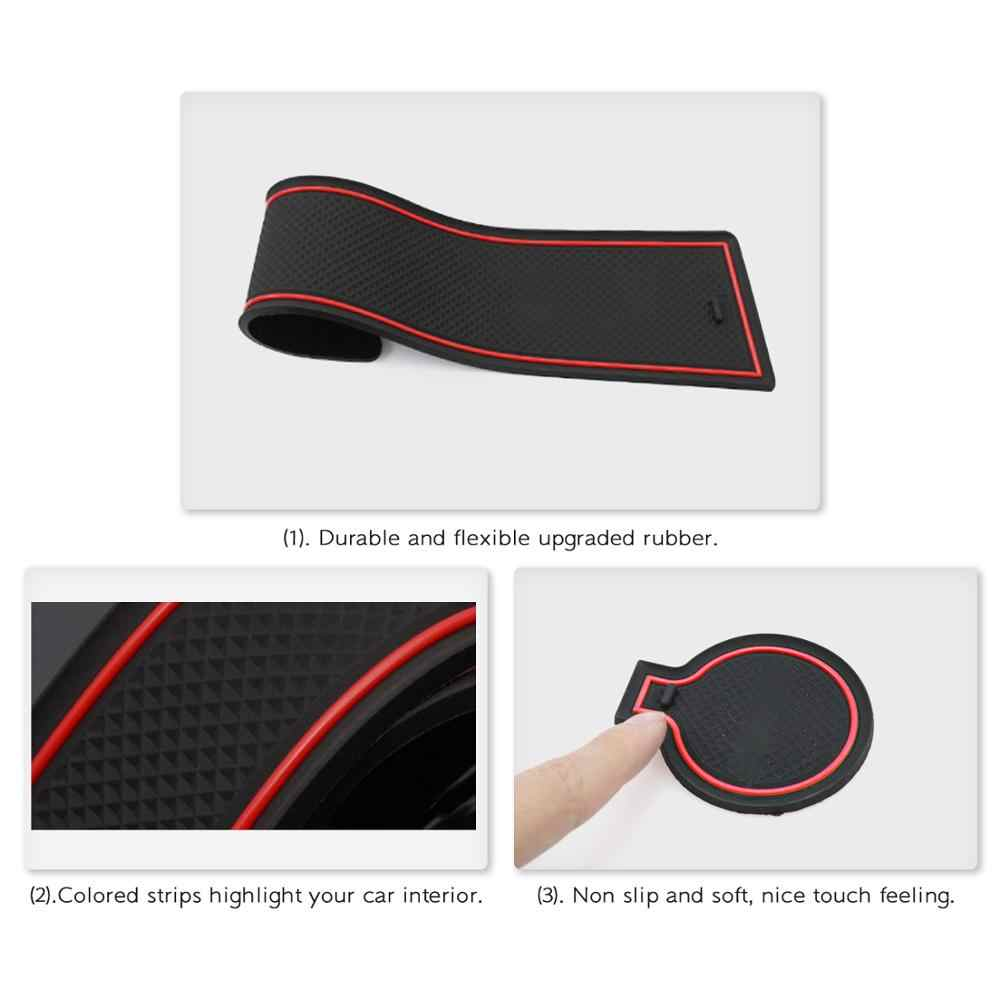 Door Slot Mat for 2020 2021 Seltos Celtos Non-Slip Interior Door Groove Gate Pad Compartment Cup Center Console Liners Car Accessory Decoration Red