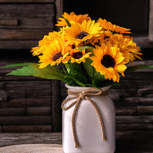 1 Bouquet Artificial Sunflower Silk Flowers Simulation Fake Props Garden Floral DIY Home Wedding Decor