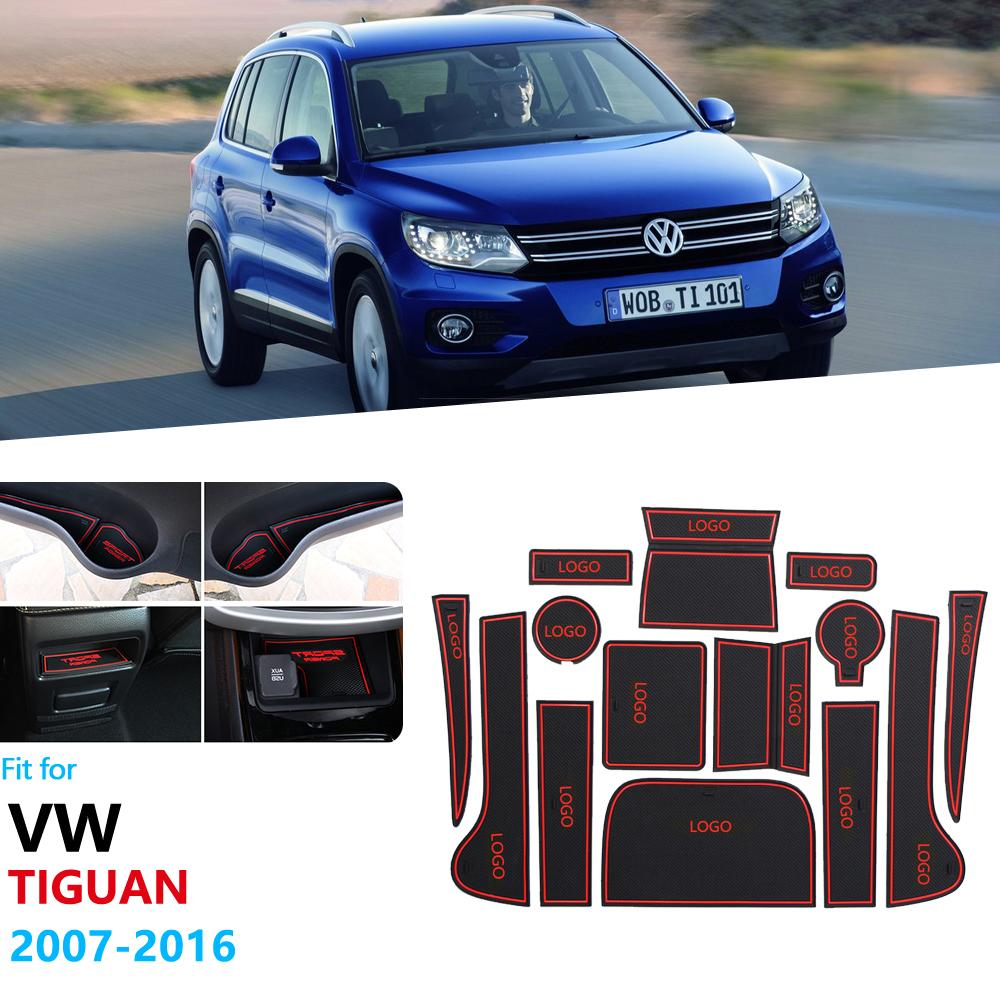 Anti-Slip Rubber Gate Slot Cup Mat For Volkswagen VW Tiguan 2007 2008 2009 2010 2011 2012 2013 2014 2015 2016 Door Groove Mat