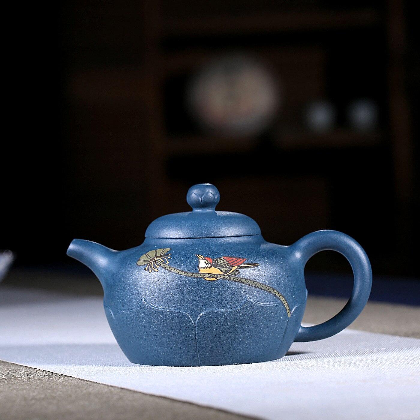 Enameled Pottery Teapot Full Manual Azure Mud Magpie Teapot Kungfu Online Travel Tea Set Gift Infusion Of Tea Kettle Wholesale|Teapots| |  - title=
