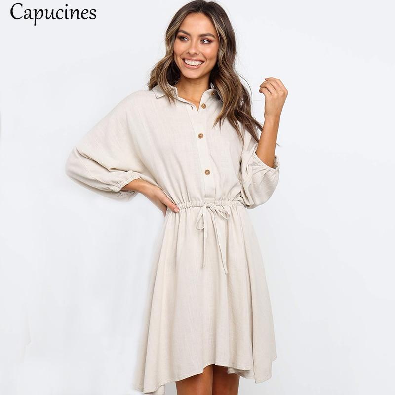Women's Wrist Sleeves Casual Loose Cotton Dress Autumn Lantern Sleeve Short Dress Sashes Button Elegant Brown Mini Dresses 4