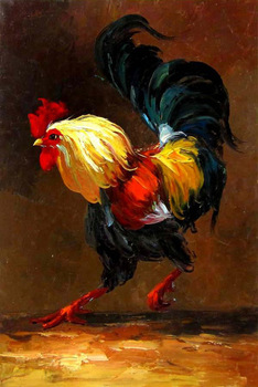 Hand-painted Rooster Canvas Oil Painting Animal Wall Art  for Home Living Room Bedroom Office Home decoration