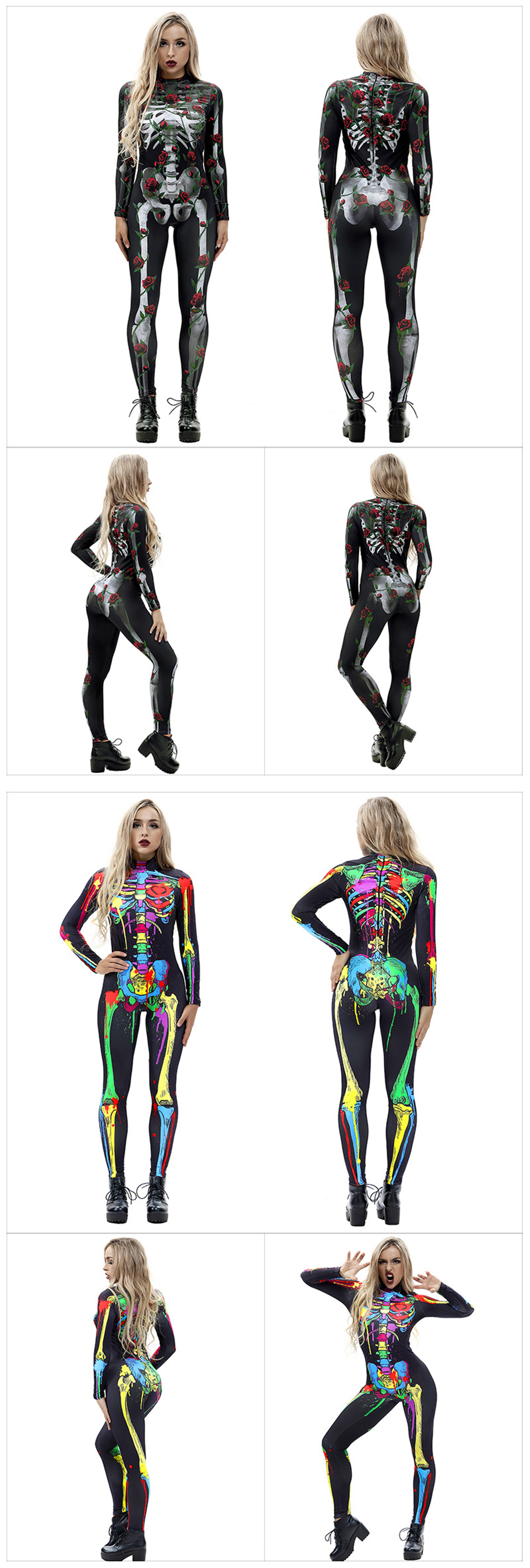H034ccc8a061347b384bcd923ab3e08dbB - 8Style Halloween Cosplay Costumes for Women Adult Scary Skeleton Bodysuit Print Long Sleeve Carnival Party Ghost Skull Dress