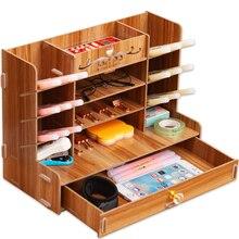 Drewniana na biurko Organizer wielofunkcyjny DIY długopis pojemnik na ołówki pulpit stacjonarny Home Office Supply Storage Rack