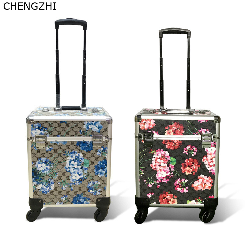 CHENGZHI Fashion Makeup Trolley Cosmetic Case Portable Multifunction Rolling Luggage Nail Art Tattoo Beauty Travel Suitcase