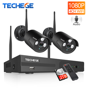 Image 1 - Techege 4CH WIFI CCTV System Wireless NVR Kit 2PCS 1080P HD IP Camera 2MP Outdoor Waterproof Home Security Surveillance System