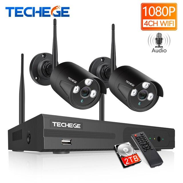 Techege 4CH WIFI CCTV sistema Kit NVR inalámbrico 2 uds 1080P HD IP Cámara 2MP al aire libre impermeable sistema de seguridad del hogar