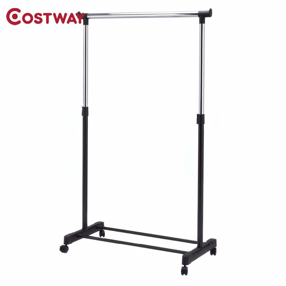 COSTWAY Adjustable Rolling Clothes Hanger Coat Rack Floor Hanger Storage Wardrobe Clothing Drying Racks With Shoe Rack W0498