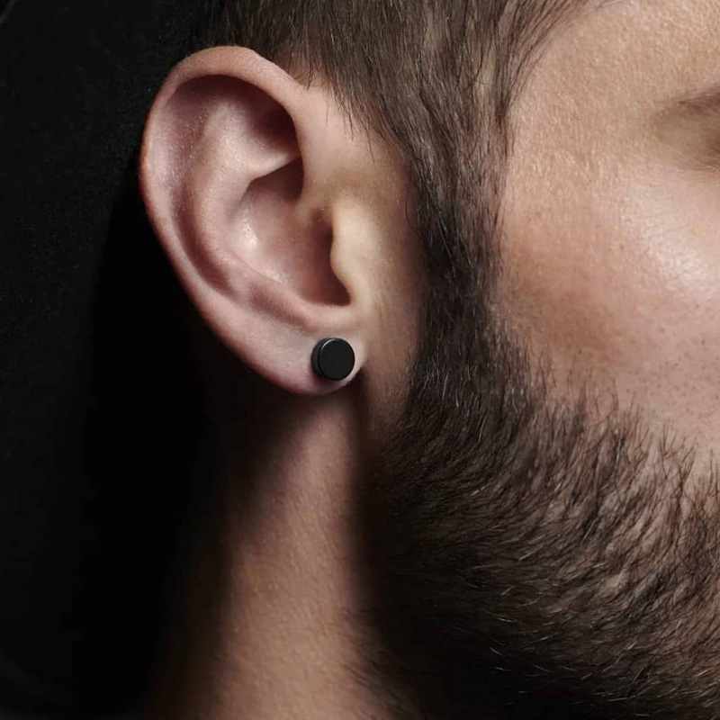 8MM MENS EARRING SET STAINLESS STEEL CIRCLE CLIP STUD EARRINGS FAKE PLUGS NO PIERCING CLIP ON JEWELRY