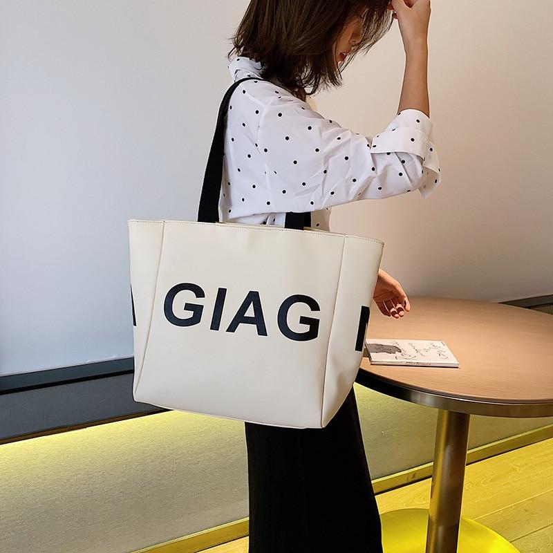 JI HAO Original Design Bag For Women 2019 PU Lether Female Shoulder Bag Simple Ladies Letter Handbag Fashion Versatile Tote Bags