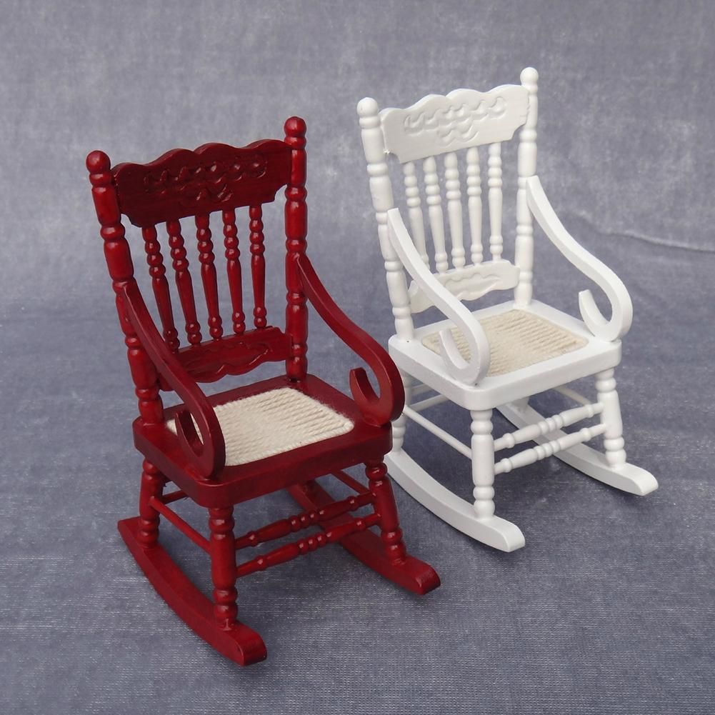 1/12 Wooden Mini Dollhouse Rocking Chair Model Toy DIY Miniature Scenery Accessory For Dolls House Accessories Decor Toys New