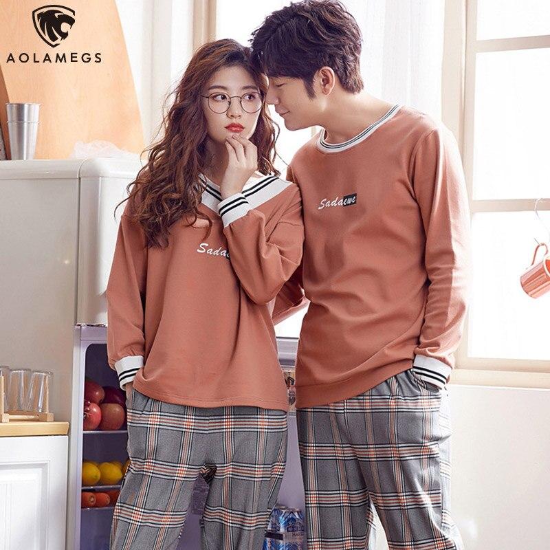 Aolamegs Men Pajamas Set Fashion Couple Sleepwear Soft Retro Plaid Print Comfortable Casual Style Pajamas Male Homewear Autumn
