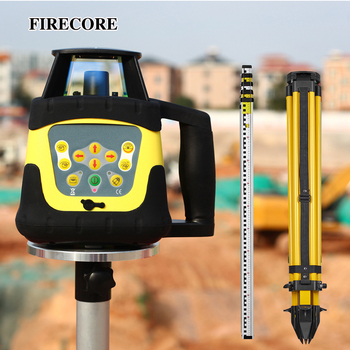 FIRECORE Automatic Self-leveling High Accurate Red/Green Rotary Laser Level + 5M Tower Ruler +1.6M Tripod