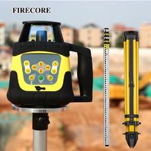 FIRECORE automatyczna samopoziomująca wysoka dokładność czerwony/zielony Laser obrotowy poziom + 5M wieża linijka + 1.6M statyw