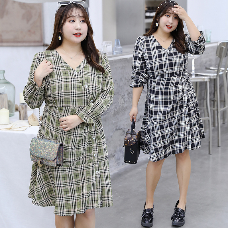 [Xuan Chen] Large GIRL'S Large Size Dress 2019 Autumn New Products Mid-length Plaid Skirt Irregular Dress 6497