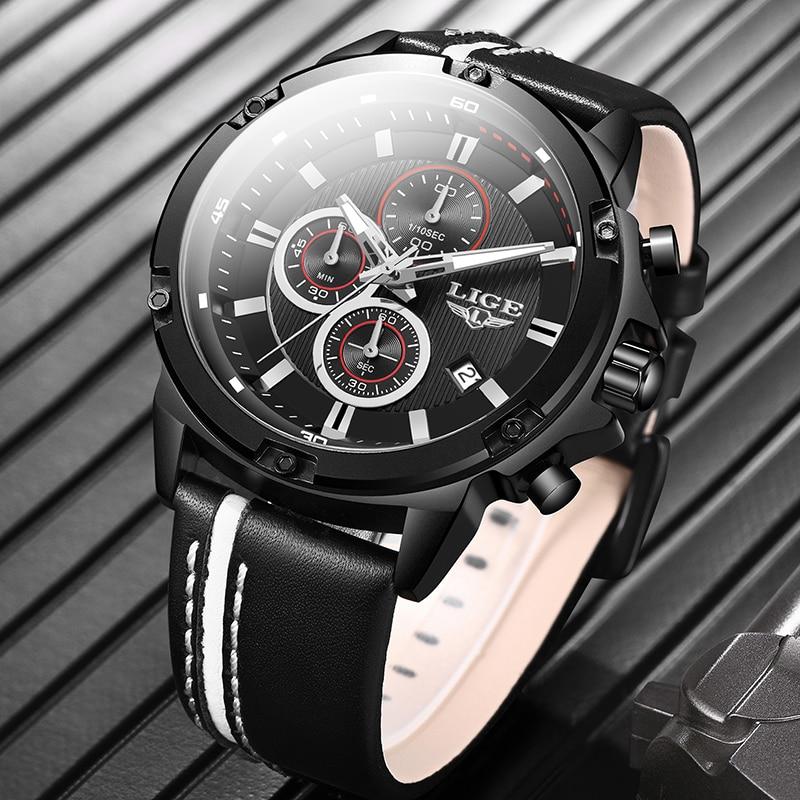 Relogio Masculino LIGE 2020 New Watch Men Fashion Sport Quartz Clock Mens Watches Brand Luxury Leather Business Waterproof Watch