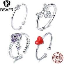 Gorąca sprzedaż BISAER fioletowy kryształ oryginalny 925 srebrny pierścień Love Heart nieskończoność pierścienie dla kobiet biżuteria zaręczynowa