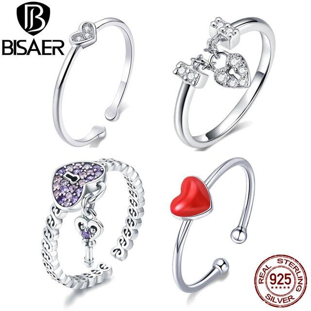 Gran oferta BISAER Cristal púrpura anillo de Plata de Ley 925 Original amor corazón infinito anillos de dedo para las mujeres joyería de compromiso