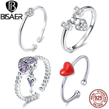 Hot Sale BISAER Purple Crystal Original 925 Sterling Silver Ring Love Heart Infinity Finger Rings for Women Engagement Jewelry