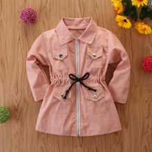 2-7 Years Children's Coat 2019 Autumn Baby Girl Clothes Pure Pink Lovely Kids Trench Coat For Toddler Girl Turn-down Collar D30 2016 new autumn girl coat print denim button trench children jacket long sleeve toddler kids girl outwear for 9 10 11 13 years