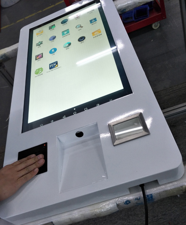 Wall Mounted Self Service Hotel Bank Restaurant Terminal Lcd Touch Screen NFC / ORC Card Reader Kiosk