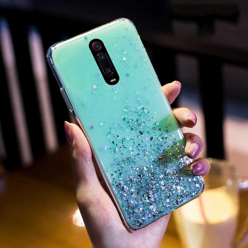 Блестящий блестящий чехол с блестками для Xiao mi Red mi K20 Note 7 8 5 6 pro, мягкий чехол для mi A3 CC9 CC9E 9 8 SE Lite 6X A2 9 TPro, чехол для телефона - Цвет: Green
