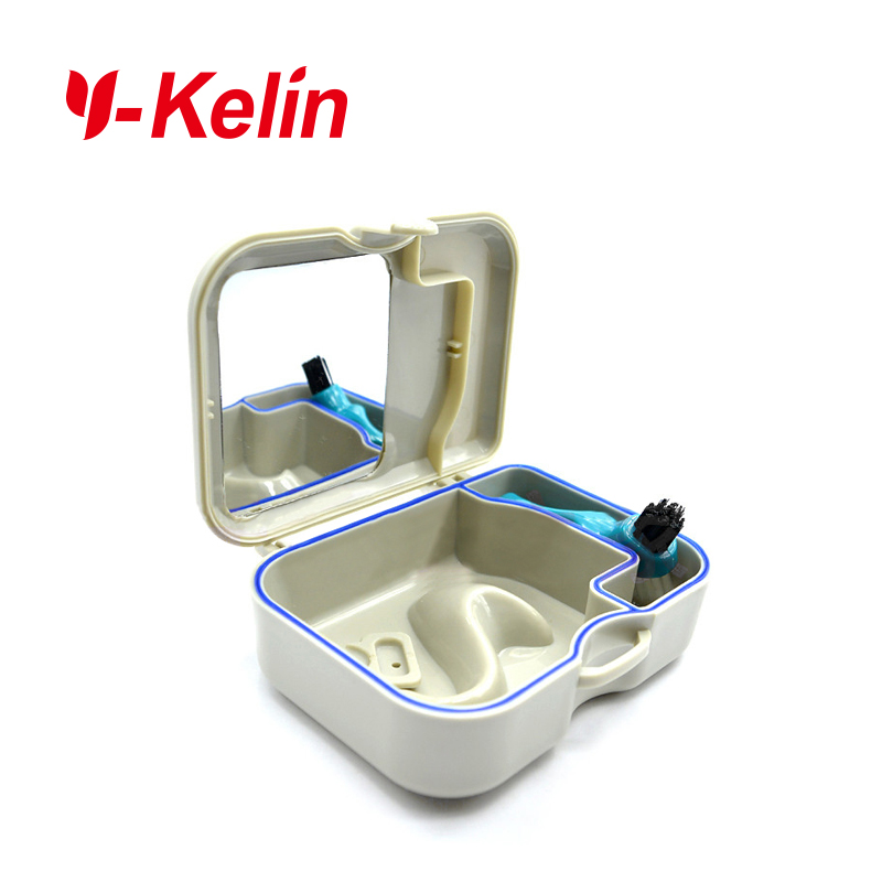 Y-Kelin Denture Box Kit High-class Denture Storage Box With Mirror And  Brush  Free  Tablet