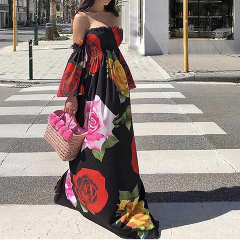 2021 Female Dresses Women Summer Shoulder Flared Sleeves Floral Print Long Dress Sexy Elegant Ladies Dresses Plus Size