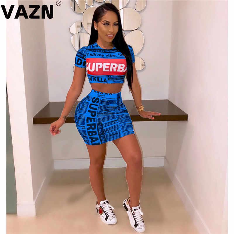 VAZN 새로운 도착 2019 신문 인쇄 여름 섹시한 레이디 색상 긴 세트 짧은 소매 세트 어린 소녀 캐주얼 여성 세트