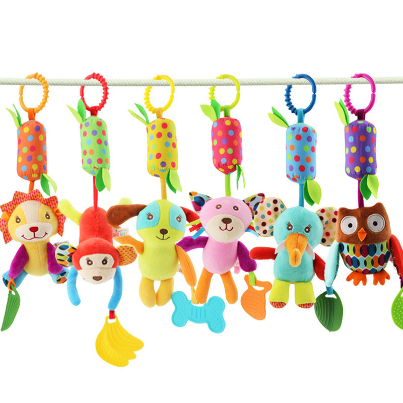 Skkbaby Infants Car Hanging Bed Hanging 6-Zoo Wind Chime With Teether Baby Campanula