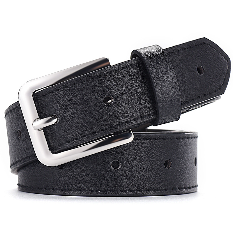 NO ONEPAUL Women 39 s jeans decorative casual simple leather belt luxury brand new alloy pin buckle youth students wild retro belt in Women 39 s Belts from Apparel Accessories