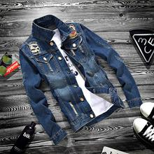 ZOGAA 2019 Autumn Youth Jeans Jacket Men Casual Holes Turn-down Collar Korean Slim Cowboy Hip Hop Streetwear Denim